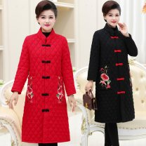 Cotton padded clothes Red, black, green, 2068 red, 2068 black XL,2XL,3XL,4XL,5XL Winter of 2019 Other / other Medium length Long sleeves routine Single breasted commute stand collar routine Straight cylinder Solid color ethnic style ZG-965 Embroidery, pocket, buckle 96% and above cotton
