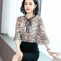 Lace / Chiffon Summer 2020 S M L XL XXL XXXL XXXXL elbow sleeve commute Socket singleton  easy Regular other Decor pagoda sleeve 30-34 years old Han Xianer Bow and tuck printing Korean version Other 100% Pure e-commerce (online only)