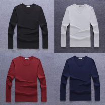 T-shirt Youth fashion thin S. M, l, XL, 2XL, 3XL, 4XL, 5XL, two starting socks Niu Chenshi Long sleeves Crew neck Self cultivation Other leisure autumn Other 100% youth routine tide Cotton wool 2018 Solid color other No iron treatment Fashion brand