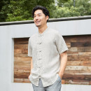 shirt Fashion City Safari S/165 M/170 L/175 XL/180 2XL/185 White linen top cyan Zhang blue 859 denim blue 859 white Thin money stand collar Short sleeve easy daily summer SF188911 middle age Flax 100% Chinese style 2018 Solid color Linen Summer of 2018 washing hemp Button decoration More than 95%