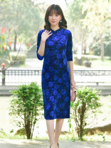 Dress Autumn of 2019 Royal Blue M L XL XXL Mid length dress singleton  Long sleeves commute Crew neck routine 35-39 years old Rong Jin Sheng E304-3 91% (inclusive) - 95% (inclusive) polyester fiber Polyethylene terephthalate (PET) 94% polyurethane elastic fiber (spandex) 6%