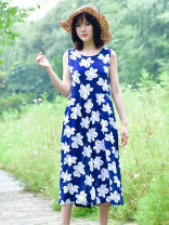 Dress Summer of 2019 Lily on blue background M L XL XXL Mid length dress singleton  Sleeveless Crew neck 25-29 years old Type A Rong Jin Sheng E049-5 More than 95% other Viscose (viscose) 100% Pure e-commerce (online only)