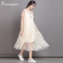 Dress Summer 2020 Soft fog apricot S M L longuette Two piece set Short sleeve commute Crew neck Loose waist Solid color Socket A-line skirt 25-29 years old Type A Xiangsi'er Retro Embroidery More than 95% other Other 100% Pure e-commerce (online only)