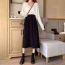 skirt Winter 2020 S,M,L Black, brown Mid length dress Versatile High waist Umbrella skirt Solid color Type A 18-24 years old 31% (inclusive) - 50% (inclusive) other other