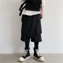Casual pants Others Youth fashion black M,L,XL routine Cropped Trousers Other leisure Straight cylinder No bullet Six point one summer teenagers tide 2020 middle-waisted Straight cylinder Low crotch straddle pants Asymmetry No iron treatment other polyester fiber Non brand