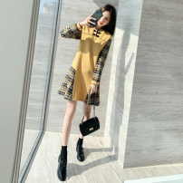 Dress Autumn 2020 yellow S M L XL Mid length dress Fake two pieces Long sleeves commute Crew neck Loose waist lattice Single row two buttons A-line skirt routine Others 25-29 years old Plume floating Korean version Pleated thread More than 95% other Other 100% Pure e-commerce (online only)