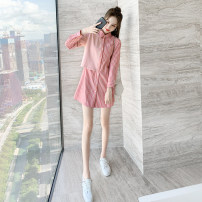 Dress Autumn 2020 Pink S M L XL Mid length dress singleton  Long sleeves commute Polo collar High waist stripe Single breasted A-line skirt routine Others 25-29 years old Type A Plume floating Korean version Splicing 20d26CA More than 95% other Other 100% Pure e-commerce (online only)