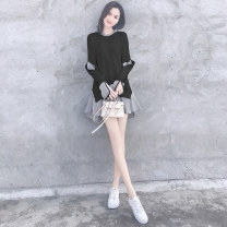 shirt Black white blue S M L XL Spring 2020 other 96% and above Long sleeves commute Medium length other Socket routine Solid color 25-29 years old High waist type Plume floating Korean version 18840HS The stitching of Ruffle thread is asymmetric Other 100% Pure e-commerce (online only)