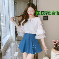 Lace / Chiffon Summer 2021 White top, blue skirt, top skirt suit S,M,L elbow sleeve commute Socket singleton  easy Regular Crew neck Solid color pagoda sleeve 18-24 years old Retro 51% (inclusive) - 70% (inclusive) polyester fiber