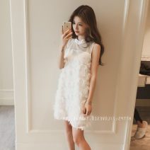 Dress Spring 2021 White, black S,M,L,XL Mid length dress singleton  Sleeveless commute Crew neck Loose waist Solid color Socket A-line skirt Others 18-24 years old Type A Other / other Korean version Frenulum 51% (inclusive) - 70% (inclusive) other