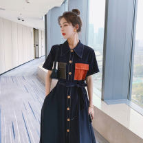 Dress Summer 2021 Navy Blue S,M,L,XL singleton  Short sleeve commute Polo collar Elastic waist Solid color zipper routine Others Other / other pocket