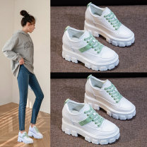 Low top shoes 34 35 36 37 38 39 Shoemll / shoe cabinet Round head Double skin mulching Internal elevation High heel (5-8cm) Midmouth Superfine fiber Spring 2020 Frenulum Korean version Adhesive shoes Youth (18-40 years old) Color matching polyurethane Single shoes leisure time