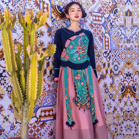 Dress Spring 2021 Purplish red S,M,L Mid length dress singleton  Long sleeves commute Crew neck middle-waisted Solid color Socket A-line skirt pagoda sleeve Others 30-34 years old Type A Su Luo ethnic style Embroidery