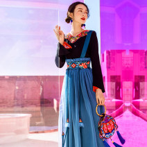 skirt Spring 2021 S,M,L blue longuette commute Natural waist A-line skirt Solid color Type A 30-34 years old other Su Luo Embroidery ethnic style