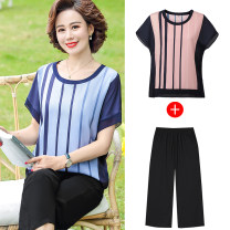 Middle aged and old women's wear Summer 2021 fashion suit easy Two piece set stripe 40-49 years old Socket Crew neck Medium length routine polyester 96% and above