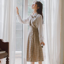 Dress Spring 2020 Picture color S,M,L Middle-skirt Two piece set Long sleeves commute Polo collar High waist lattice Socket A-line skirt routine straps 25-29 years old Type H Korean version bow 31% (inclusive) - 50% (inclusive) brocade cotton