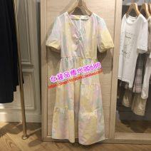 Dress Summer 2021 Picture color 155/80A,160/84A,165/88A,170/92A longuette singleton  Short sleeve commute V-neck Solid color Socket A-line skirt routine Type A E·LAND EEOWB24Q1N cotton