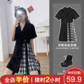 Women's large Summer 2021 Dress Two piece set Sweet easy moderate Socket Short sleeve letter Polo collar Medium length Three dimensional cutting puff sleeve Shu Xinyuan 18-24 years old Lace stitching Short skirt Polyester 95% polyurethane elastic fiber (spandex) 5% Pure e-commerce (online only)