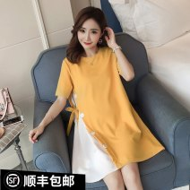 Dress Other / other Pink, yellow, black, pink (premium), yellow (premium), black (premium) M,L,XL,XXL Korean version Short sleeve routine summer Crew neck Solid color