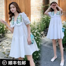 Dress Other / other Collection and purchase ⭐ Priority delivery, picture color, picture color (high quality version) M,L,XL,XXL Korean version Short sleeve routine summer Lapel Solid color Cotton and hemp