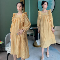 Dress Other / other yellow M,L,XL,XXL Korean version Long sleeves have more cash than can be accounted for spring Solid color