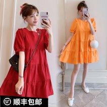 Dress Other / other Red, collection and purchase ⭐ Priority delivery, orange, red (quality version), orange (quality version) M. L, XL, XXL, XXXL, increase XXXL leisure time Short sleeve routine spring Crew neck Decor