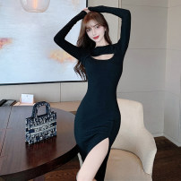 Dress Autumn 2020 black S,M,L Mid length dress singleton  Long sleeves commute Crew neck High waist Solid color Socket Pencil skirt routine Others 18-24 years old Type H Other / other Korean version Hollowing, folding, asymmetry New autumn and winter 81% (inclusive) - 90% (inclusive) knitting cotton