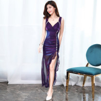 Dress Summer of 2018 Pink Purple S M L XL XXL longuette singleton  Sleeveless commute V-neck High waist Solid color Socket Irregular skirt routine camisole 25-29 years old Baimei Demon Brother Korean version LQL-80889 81% (inclusive) - 90% (inclusive) other polyester fiber
