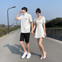 Dress Summer 2021 Women's dress, men's shirt, men's short sleeves, men's black shorts, men's set [shirt + black shorts] S,M,L,XL,2XL,3XL Middle-skirt singleton  Short sleeve commute Admiral middle-waisted Socket Ruffle Skirt puff sleeve Others Type H Other / other Korean version 810F25 other