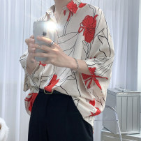 shirt Youth fashion Others M,L,XL,2XL Off white, black routine Pointed collar (regular) Short sleeve easy Other leisure summer Four point three teenagers Polyester 100% like a breath of fresh air