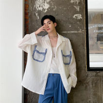 shirt Youth fashion Others M,L,XL White and blue Thin money square neck Long sleeves easy Other leisure Four seasons youth tide 2019 Solid color other Splicing