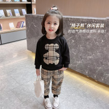 suit Mikir / mikir Black and white 90cm 100cm 110cm 120cm 130cm female spring and autumn Korean version Long sleeve + pants 2 pieces routine There are models in the real shooting Socket nothing Cartoon animation cotton children Expression of love Class A Cotton 95% other 5% Summer 2021