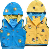 Vest male Blue 1482 vest yellow 1482 vest 90cm 100cm 110cm 120cm 130cm Bright bear baby spring and autumn zipper leisure time cotton Cartoon animation Cotton 100% B1482 They were 2 years old, 3 years old, 4 years old, 5 years old, 6 years old and 7 years old