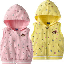 Vest female Pink 1469 yellow 1469 90cm 100cm 110cm 120cm 130cm Bright bear baby spring and autumn routine Official pictures zipper leisure time Cartoon animation Cotton 95% polyurethane elastic fiber (spandex) 5% B1469