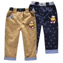 trousers Bright bear baby male 90 size can be opened, 100 size can open crotch 110cm 120 130 spring and autumn trousers leisure time No model Casual pants Leather belt middle-waisted cotton Cotton 98.7% others 1.3% B8099