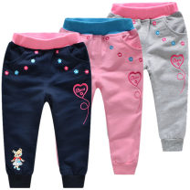 trousers Bright bear baby female 90 yards can be opened, 100 yards can be opened, 110cm 120cm 130cm spring and autumn trousers Korean version Official pictures Casual pants Leather belt middle-waisted cotton Cotton 100% B1101
