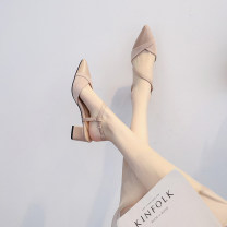 Sandals 34,35,36,37,38,39,40 Apricot, black Superfine fiber Other / other Baotou Thick heel Middle heel (3-5cm) Summer 2021 Trochanter Korean version Solid color Sewing shoes Youth (18-40 years old) rubber daily Back space Shallow mouth, thick heel Low Gang Hollow Microfiber skin Microfiber skin