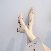 Sandals 34,35,36,37,38,39 Superfine fiber Other / other Baotou Flat bottom Low heel (1-3cm) Summer 2021 Flat buckle Korean version Solid color Adhesive shoes Youth (18-40 years old) rubber daily Bag heel Low Gang Hollow Microfiber skin Microfiber skin Roman shoes Shaving