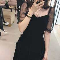 Dress Summer 2020 black S M L XL Mid length dress singleton  Short sleeve commute V-neck High waist Solid color Big swing puff sleeve 18-24 years old Type A QE. lady Gauze More than 95% other Other 100% Pure e-commerce (online only)