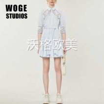 Dress Summer 2020 sky blue 36,38,40 Short skirt singleton  three quarter sleeve commute square neck High waist Solid color Single breasted A-line skirt puff sleeve Others Type A Bowknot, hollow, Gouhua, hollow, lace, stitching, button, lace MFPRO01160 More than 95% cotton