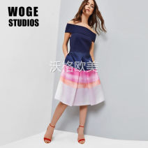 Dress Fall 2017 navy blue 0,1,2,3,4,5 Middle-skirt singleton  Short sleeve commute One word collar High waist stripe Socket Big swing Wrap sleeves Others Type A Ruffles, pleats, pockets, stitching, zippers, prints More than 95% polyester fiber