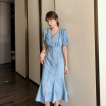 Dress Summer 2020 Blue Short Sleeve blue long sleeve fabric for comfort S M L XL Mid length dress singleton  Long sleeves commute V-neck High waist Solid color other Big swing bishop sleeve Others 18-24 years old Type H Minced bean Korean version MD20X8268 More than 95% cotton Cotton 100%