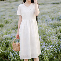 Dress Spring 2021 white S,L,M Mid length dress singleton  Short sleeve commute V-neck other Single breasted Princess Dress routine Others 25-29 years old literature Embroidery other cotton
