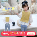 suit Little elk Tang Yellow top + jeans black top + jeans yellow top black top jeans 90cm 100cm 110cm 120cm 130cm 140cm female spring and autumn Korean version Long sleeve + pants 2 pieces routine There are models in the real shooting Socket nothing Solid color other XLXLXP2163-1-1-1 Class B