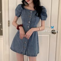 Dress Spring 2021 blue S 〈 90-100kg 〉, m 〈 100-110kg 〉, l 〈 110-120kg 〉, XL 〈 120-135kg 〉, 2XL 〈 135-150kg 〉, 3XL 〈 150-165kg 〉, 4XL 〈 165-175kg 〉, 5XL 〈 175-200kg 〉 Short skirt singleton  Short sleeve commute square neck High waist Solid color Single breasted A-line skirt puff sleeve 18-24 years old