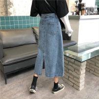 skirt Summer 2020 S 〈 90-100kg 〉, m 〈 100-110kg 〉, l 〈 110-120kg 〉, XL 〈 120-135kg 〉, 2XL 〈 135-150kg 〉, 3XL 〈 150-165kg 〉, 4XL 〈 165-175kg 〉, 5XL 〈 175-200kg 〉 blue longuette commute High waist Denim skirt Solid color Type A 18-24 years old Korean version
