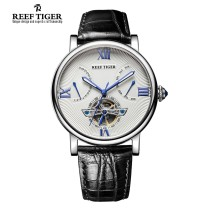 Wristwatch Reef tiger National joint guarantee Mechanical movement - automatic mechanical movement male genuine leather domestic 3ATM Fine steel Synthetic sapphire watch mirror 13mm 44mm RGA191 circular leisure time Pointer type brand new Single fold buckle To the bottom Screw in type Big dial 2013