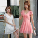 Dress Spring 2021 S,M,L,XL Middle-skirt singleton  Short sleeve commute V-neck Loose waist Solid color Socket Big swing Flying sleeve Others 18-24 years old Type A Korean version Pleats, folds, bandages 51% (inclusive) - 70% (inclusive) polyester fiber