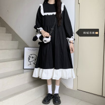 Dress Spring 2021 Picture color S,M,L,XL longuette singleton  Long sleeves Sweet Crew neck High waist Solid color Socket Ruffle Skirt puff sleeve 18-24 years old Type A Other / other Fungus, lace up solar system