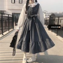 Dress Summer 2020 Blue dress, black dress, white shirt Average size Mid length dress Two piece set Long sleeves Sweet Doll Collar High waist Solid color Big swing other straps 18-24 years old Type A Other / other fold 81% (inclusive) - 90% (inclusive) other solar system